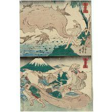 Utagawa Kuniyoshi: Tanuki Hunting with Nets (Tanuki no amiuchi) (T) and Tanuki Travelling (Tanuki no ôrai) (B), from an untitled series of Tanuki (Raccoon-dogs) - Museum of Fine Arts