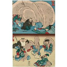 Utagawa Kuniyoshi: A Sick Tanuki (Tanuki no senkimochi) (T) and Tanuki as the Seven Gods of Good Fortune (Tanuki no Shichifukuijin) (B), from an untitled series of Tanuki (Raccoon-dogs) - Museum of Fine Arts