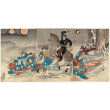 Utagawa Kokunimasa: A Great Attack in the Snow on the Battery of the Hundred Foot Cliff at Weihaiwei (Ikaiei hyakusekigai hôdai setchû dai kôgeki) - ボストン美術館