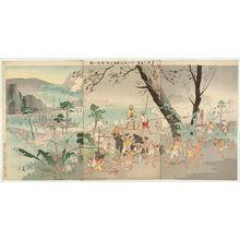 Taguchi Beisaku: Taiwanese Bandits Barbarically Assault the Japanese Imperial Guard Transport Corps at Sanchiaoyung (Taiwan Sankakuyû ni oite dozoku Konoe yusôtai o zangeki suru zu) - ボストン美術館