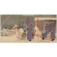 小林清親: In Clear Weather after Snow, General Nozu Advances and Looks at Liaoyang (Nozu taishô yukibare Ryôyô shinbô zu) - ボストン美術館