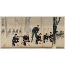 小林清親: Battle at Jinzhoucheng on the Road to Port Arthur (Ryojun michi Kinshûjô sen) - ボストン美術館