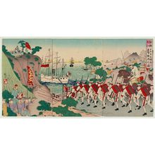 Utagawa Kokunimasa: Victory of Japanese Troops Pursuing Chinese Troops at Asan in Korea (Chôsen Gazan ni Nihon hei Shina hei o tsuigekisen shôri no zu) - ボストン美術館