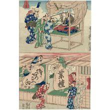 Utagawa Kuniyoshi: Tanuki Fortuneteller (Tanuki no uranai) (T) and Tanuki Shop Signs (Tanuki no kanban) (B), from an untitled series of Tanuki (Raccoon-dogs) - Museum of Fine Arts