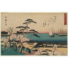 歌川広重: Cherry Blossoms in Full Bloom at Goten-yama (Goten-yama hanazakari), from the series Famous Places in Edo (Edo meisho) - ボストン美術館