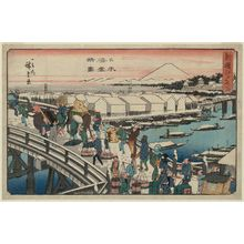 Utagawa Hiroshige: Clear Weather after Snow at Nihonbashi Bridge (Nihonbashi yukibare no zu), from the series Famous Places in Edo, Newly Selected (Shinsen Edo meisho) - Museum of Fine Arts