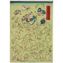 河鍋暁斎: Act V of Chûshingura and others, from the series A Children's Handbook of String Pictures (Kyokumusubi osana tehon) - ボストン美術館