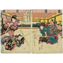Ganjôsai Kunihiro: Actors Iwai Shijaku I as the maid Ohatsu (R), Nakamura Utaemon III as Iwafuji and Nakamura Kashichi II as Futorigi (L) - Museum of Fine Arts