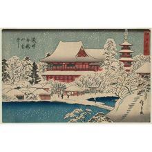 歌川広重: Kinryûzan Temple at Asakusa in Snow (Asakusa Kinryûzan setchû), from the series Famous Places in Edo (Edo meisho) - ボストン美術館