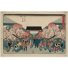 Utagawa Hiroshige: Cherry Blossom Time at Naka-no-chô in the Yoshiwara (Yoshiwara Naka-no-chô sakura toki), from the series Famous Places in Edo (Edo meisho) - Museum of Fine Arts