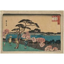 Utagawa Hiroshige: Cherry Blossoms in Rain along the Sumida River (Sumidagawa uchû no hana), from the series Famous Places in Edo (Edo meisho no uchi) - Museum of Fine Arts