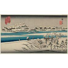 Utagawa Hiroshige: View of the Sumida River in Snow (Sumidagawa yuki no kei), from the series Famous Places in Edo (Kôto meisho) - Museum of Fine Arts