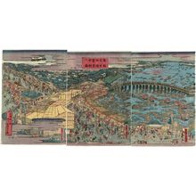 Utagawa Kunisato: Famous Places in the Eastern Capital: Bustling Business at Ryôgoku for the River Opening (Tôto meisho Ryôgoku han'ei kawabiraki no zu) - Museum of Fine Arts