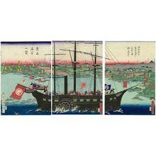 Utagawa Kuniteru: In the Conquest of Ôshû Province, Lord Minamoto Yoritomo Captures the Fortress of Takadachi (Minamoto Yoritomo kô Ôshû seibatsu Takadachi no shojô o kôraku su) - Museum of Fine Arts