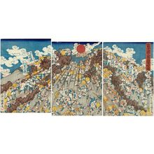 Utagawa Kuniteru: People on Pilgrimage to Mount Fuji Going down the Mountain - Museum of Fine Arts