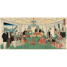 歌川芳員: Foreigners Enjoying Themselves at a Party (Ikokujin shuen yûraku no zu) - ボストン美術館