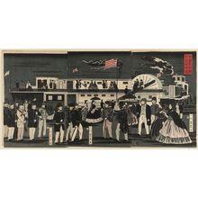 歌川芳員: America: a Steam Train in Motion (Amerika koku jôkisha ôrai) - ボストン美術館