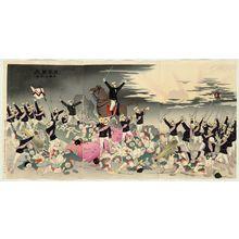小林清親: Hurrah for Japan! The Victory Song of Pyongyang (Nihon banzai, Heijô no gaika) - ボストン美術館
