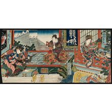Shunbaisai Hokuei: Actors Nakamura Tomijûrô II as Kinshôjo (R), Nakamura Utaemon III as Kanki (C), and Arashi Rikan II as Watônai (L) - Museum of Fine Arts