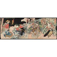 Shunbaisai Hokuei: Actors, from right: Seki Sanjûrô II as Sugikura Kisonosuke Ujimoto, Nakamura Tamijûrô II as Princess Fuse, Arashi Rikan II as Kanamari Daisuke, and Nakayama Nanshi II as the Courtesan Tamazusa - Museum of Fine Arts