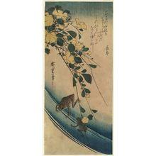 歌川広重: Yellow Rose (Yamabuki) and Frogs - ボストン美術館