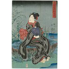歌川国芳: Gravepost (Sotoba), from the series Seven Komachi in Modern Style (Imayô nana Komachi) - ボストン美術館