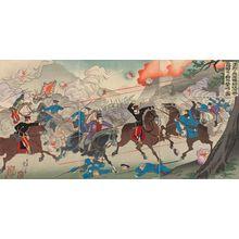 Watanabe Nobukazu: Our Valorous Military Repulsing the Russian Cossack Cavalry on the Bank of the Yalu River (Yûretsu naru waga gun Ôryokkô kahan ni Rokoku Kozakku kihei o gekitai no zu) - Museum of Fine Arts