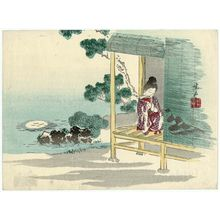 Harada Keigaku: Woman Resting on Veranda - Museum of Fine Arts