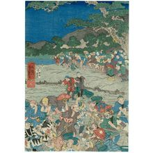 Utagawa Yoshitsuya: Dredging the Kamo River in Kyoto - Museum of Fine Arts