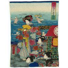 Utagawa Yoshitsuya: Mitsuuji's Excursion to the Ôi River (Mitsuuji Ôigawa yûran no zu) - Museum of Fine Arts