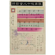 Torii Kiyosada: Title page (Mokuroku) for the series The Eighteen Great Kabuki Plays (Kabuki Jûhachi-ban) - Museum of Fine Arts