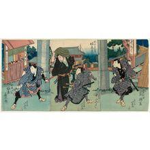 Shunbaisai Hokuei: Actors Arashi Rikan as Hayase Iori (R); Bandô Hikosaburô IV as Sakata Shôzaburô and Nakayama Miyoshi I as Hayashi Genjirô (C); and Bandô Jûtarô I as Adachi Yasuke (L) - ボストン美術館