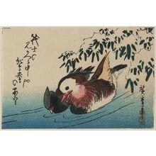 Utagawa Hiroshige: Mandarin Ducks and Bamboo Grass in Snow - Museum of Fine Arts