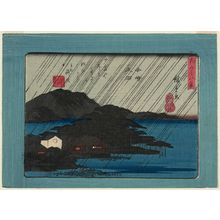 歌川広重: Night Rain at Karasaki (Karasaki yau), from the series Eight Views of Ômi (Ômi hakkei) - ボストン美術館