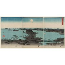 歌川広重: Eight Views of Kanazawa at Night (Buyô Kanazawa hasshô yakei), from an untitled set of three triptychs - ボストン美術館