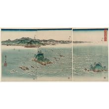 Utagawa Hiroshige: View of the Whirlpools at Awa (Awa Naruto no fûkei), from an untitled set of three triptychs - Museum of Fine Arts