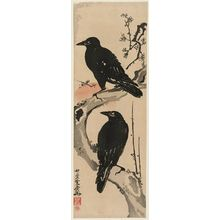 Kawanabe Kyosai: Two Crows on a Plum Branch with Rising Sun - Museum of Fine Arts