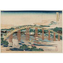 葛飾北斎: Yahagi Bridge at Okazaki on the Tôkaidô Road (Tôkaidô Okazaki Yahagi no hashi), from the series Remarkable Views of Bridges in Various Provinces (Shokoku meikyô kiran) - ボストン美術館
