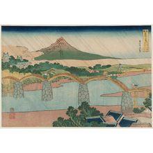 葛飾北斎: The Kintai Bridge in Suô Province (Suô no kuni Kintaibashi), from the series Remarkable Views of Bridges in Various Provinces (Shokoku meikyô kiran) - ボストン美術館