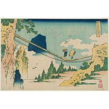 Katsushika Hokusai: The Suspension Bridge on the Border of Hida and Etchû Provinces (Hietsu no sakai tsuribashi), from the series Remarkable Views of Bridges in Various Provinces (Shokoku meikyô kiran) - Museum of Fine Arts