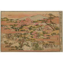 Katsushika Hokusai: View of the Inari Shrine at Ôji and Asuka Hill (Ôji Inari Asukayama no zu), from the series Newly published Perspective Pictures (Shinpan uki-e) - Museum of Fine Arts