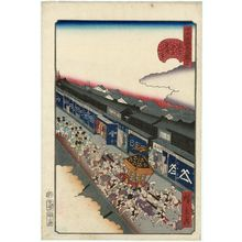 Utagawa Hirokage: No. 17, Gion Festival in Tôri-itchôme (Tôri-itchôme Gion-e), from the series Comical Views of Famous Places in Edo (Edo meisho dôke zukushi) - Museum of Fine Arts