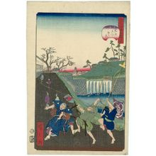 Utagawa Hirokage: No. 34, Outside the Gate at Toranomon (Tora-no-gomon soto no kei), from the series Comical Views of Famous Places in Edo (Edo meisho dôke zukushi) - Museum of Fine Arts