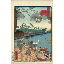 Utagawa Hirokage: No. 7, Strong Wind on Shin-Ôhashi Bridge (Shin-Ôhashi no ôkaze), from the series Comical Views of Famous Places in Edo (Edo meisho dôke zukushi) - Museum of Fine Arts