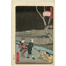 Utagawa Hirokage: No. 18, Night Scene at Horitahara in Asakusa (Asakusa Horitahara yakei), from the series Comical Views of Famous Places in Edo (Edo meisho dôke zukushi) - Museum of Fine Arts