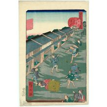 歌川広景: No. 43, Iidamachi, from the series Comical Views of Famous Places in Edo (Edo meisho dôke zukushi) - ボストン美術館