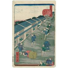 Utagawa Hirokage: No. 43, Iidamachi, from the series Comical Views of Famous Places in Edo (Edo meisho dôke zukushi) - Museum of Fine Arts