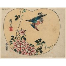 Utagawa Hiroshige: Kingfisher and Roses, cut from an untitled harimaze sheet - Museum of Fine Arts
