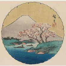 Utagawa Hiroshige: Mount Fuji and Cherry Trees, cut from an unidentified harimaze sheet - Museum of Fine Arts