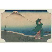 Utagawa Hiroshige: Okitsu: Tago Bay (Okitsu, Tago ura), cut from sheet 5 of the harimaze series Pictures of the Fifty-three Stations of the Tôkaidô Road (Tôkaidô gojûsan tsugi zue) - Museum of Fine Arts